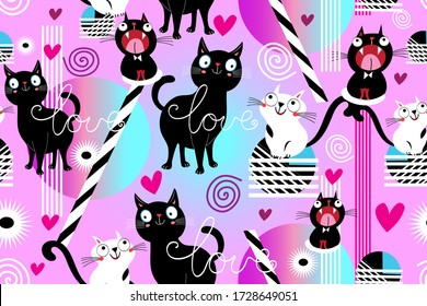 Seamless funny pattern of loving cats and hearts on a purple background. Template for cat lovers ' day.