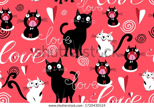 Seamless funny pattern of loving cats and hearts on a red background. Template for cat lovers ' day.