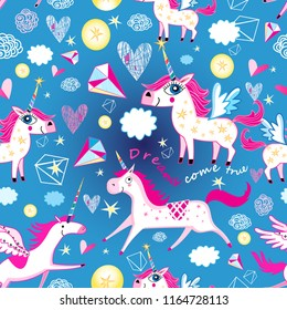 Seamless funny pattern from unicorns on a light blue background