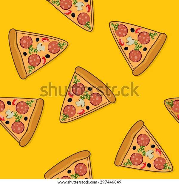 Seamless funny pizza pattern â?? fastfood yellow background