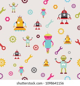 Seamless funny robots texture, for kids stuff