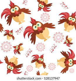 Seamless with funny rooster in cartoon style for Christmas greetings. It can be used as wrapping paper, wallpaper for your computer or in a children's room