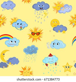 Seamless. Funny weather pattern for children. Vector drawing.