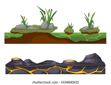 Seamless game landscape scene, terrain gaming interface for 2D games. Stony, rocky surface of the earth with vegetation grass, and lava with hot battering craters. Cartoon vector background