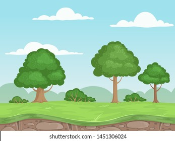 Seamless game nature landscape. Parallax background for 2d game outdoor mountains trees and clouds vector illustrations. Seamless level horizontal ui, neverending game parallax