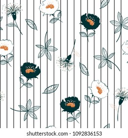 Seamless garden flowers  pattern on stripes. Leaves  illustration. Modern graphics. blooming floral,for fashion fabric and all prints hand drawing style on white