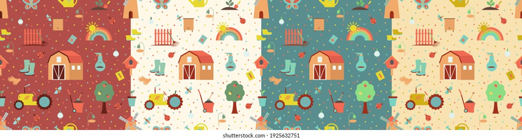 Seamless gardening pattern set with farm tools and plants. Plants and gardening tools.  Vector illustration. Use for textile, print, surface design, fashion kids wear.