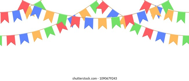 Seamless garland with celebration flag chain, yellow, blue, red, green pennons on white background, footer and banner for decoration