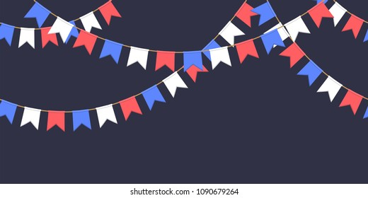 Seamless garland with celebration flag chain, white, blue, red pennons on dark background, footer and banner for decoration
