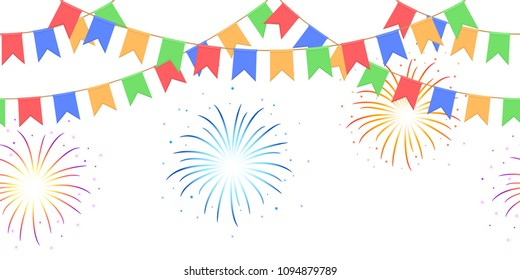 Seamless garland with celebration flags chain, yellow, blue, red, green pennons and salute on white background, footer and banner fireworks