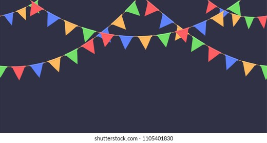 Seamless garland with celebration flags chain, red, blue, green, yellow pennons on dark background, footer and banner for decoration