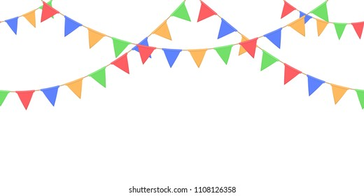 Seamless garland with celebration flags chain, yellow, blue, red, green pennons on white background, footer and banner for decoration, eps 10