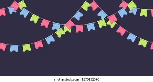 Seamless garland with celebration flags chain, pink, blue, green rounded pennons on dark background, footer and banner for decoration