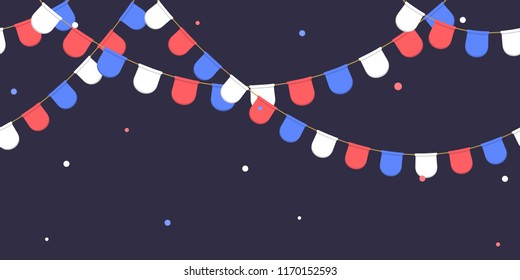 Seamless garland with celebration flags chain, white, blue, red pennons with confetti on dark background, footer and banner for decoration