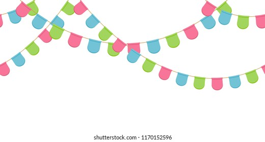 Seamless garland with celebration flags chain, pink, blue, green rounded pennons without background, footer and banner for decoration