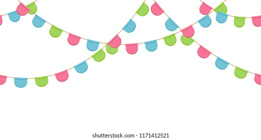 Seamless garland with celebration flags chain, pink, blue, green rounded pennons without background, footer and banner for decoration, eps 10
