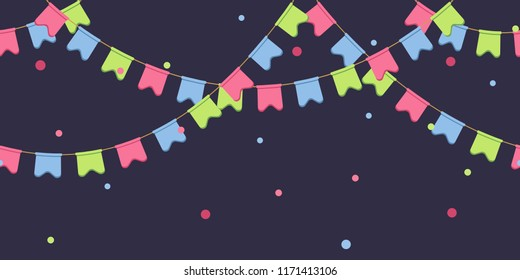 Seamless garland with celebration flags chain, pink, blue, green pennons with confetti on dark background, footer and banner for decorations