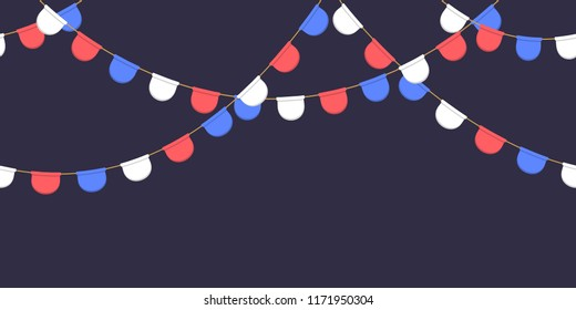 Seamless garland with celebration flags chain, white, blue, red pennonson dark background, footer and banner for decoration