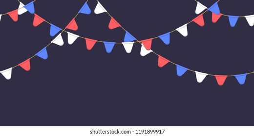 Seamless garland with celebration flags chain, white, blue, red pennons on dark background, footer and banner for decoration