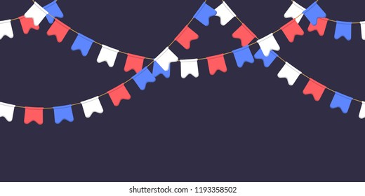 Seamless garland with celebration flags chain, white, blue, red pennons on dark background, footer and banner for decorations