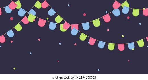 Seamless garland with celebration flags chain, pink, blue, green pennons with confetti on dark background, footer and banner for decoration