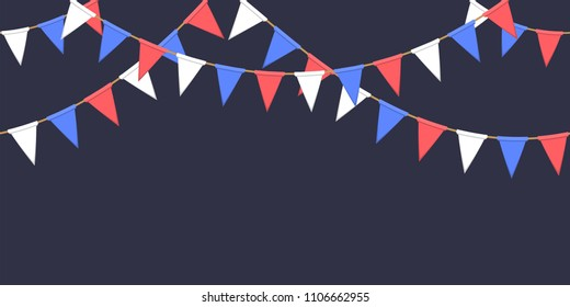 Seamless garland with triangle celebration flags chain, white, blue, red pennons on dark background, footer and banner fireworks