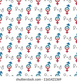 Seamless gender equality concept pattern. Male and female equality concept. The equality of men and women. Equal rights concept. Women's rights.