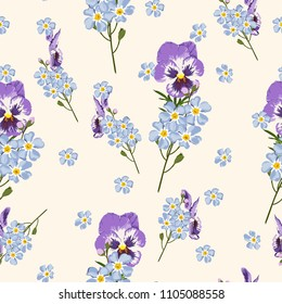Seamless gentle background with watercolor style forget-me-not and viola. Beautiful pattern. Summer, cute, sky blue little flowers. Perfect for wrapping paper, decor, textile, web design.