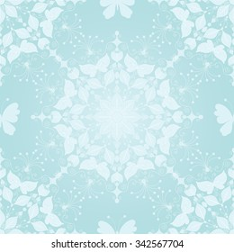 Seamless gentle christmas pattern with snowflakes and butterfly, vector eps 10