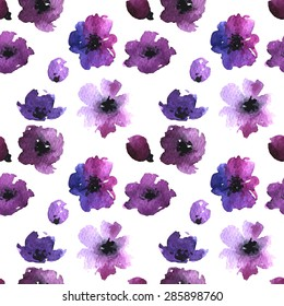 Seamless gentle floral pattern in the style of watercolor flowers. Handmade illustration for greeting cards, wallpaper, stationery, fabric.