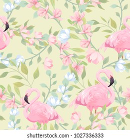 Seamless gentle pattern with pink flowers and flamingo