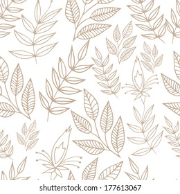 Seamless gently floral background in outlines