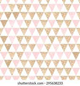 Seamless geometric abstract background. Gold and pink triangles. Texture. Vector pattern.