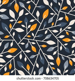 Seamless geometric abstract pattern of branches and leaves.Vector