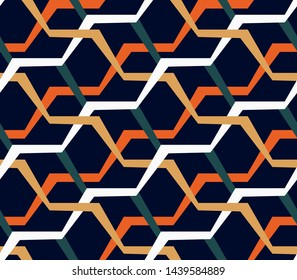 Seamless geometric abstract pattern. Colorful hexagons on a dark blue background. Modern vintage design. Template for fashion prints, fabrics, Wallpaper, interior... Vector illustration.