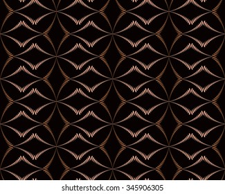 Seamless geometric abstract pattern. Diagonal rhomb shaped, braiding figure texture. Unusual rhombus bands, lines on dark background. Brown contrast color. Vector
