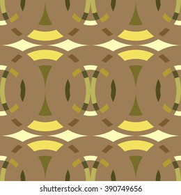 Seamless geometric abstract pattern. Rombus, circle view braiding figure texture. Green, brown, yellow colored background. Vector