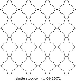 Seamless geometric arabic ornament .Vector traditional background.Abstract pattern with monochrome black wicker lines.