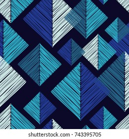 Seamless geometric background. Tangram pattern. Scribble texture. Textile rapport.
