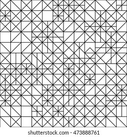 Seamless Geometric Black and White Pattern. Repetitive Texture. Modern Grid Ornament. Abstract Vector Background. Ready Swatch Included in File