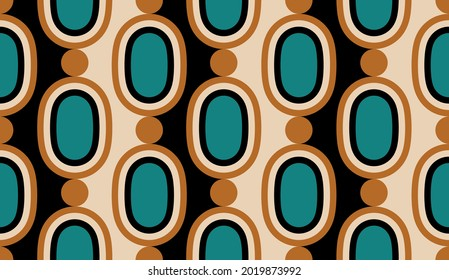 Seamless geometric chain pattern on a beige. Vector Illustration.