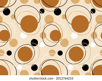 Seamless geometric circles pattern on a beige background. Vector Illustration.