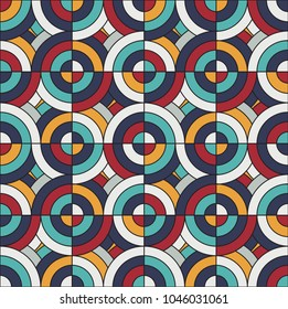 Seamless geometric colorful pattern with circles. Vector illustration.