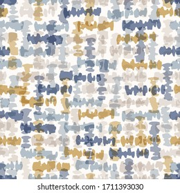 Seamless geometric cross grid pattern. French blue linen shabby chic style. Old yellow blue woven texture  background. Interior wallpaper home decor swatch. Modern gingham check textile all over print