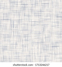 Seamless geometric cross grid pattern. French blue linen shabby chic style. Rustic kitchen woven texture  background. Interior wallpaper home decor swatch. Modern gingham check textile all over print