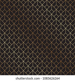 Seamless geometric diamond shaped Art Deco pattern in gold and black.