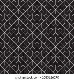 Seamless geometric diamond shaped Art Deco pattern in white on black.