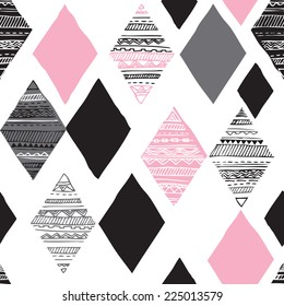 Seamless geometric diamond tribal triangle hand drawn background pattern in vector