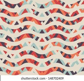 Seamless geometric ethnic wave pattern