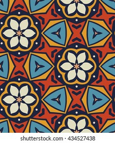 Seamless geometric floral pattern with flowers. shape